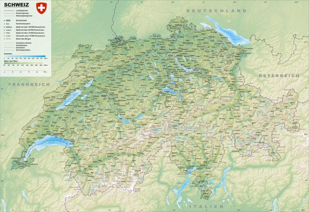 Карта Швейцарии физическая